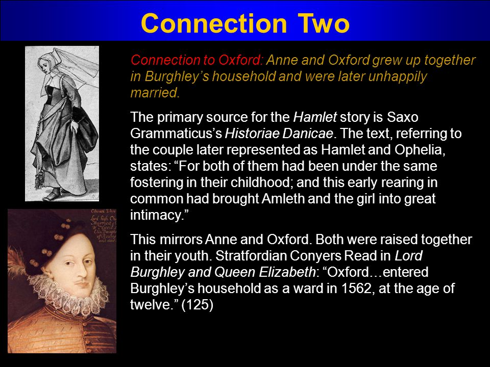 Connection Two Connection to Oxford: Anne and Oxford grew up together in Burghley's household and were later unhappily married.