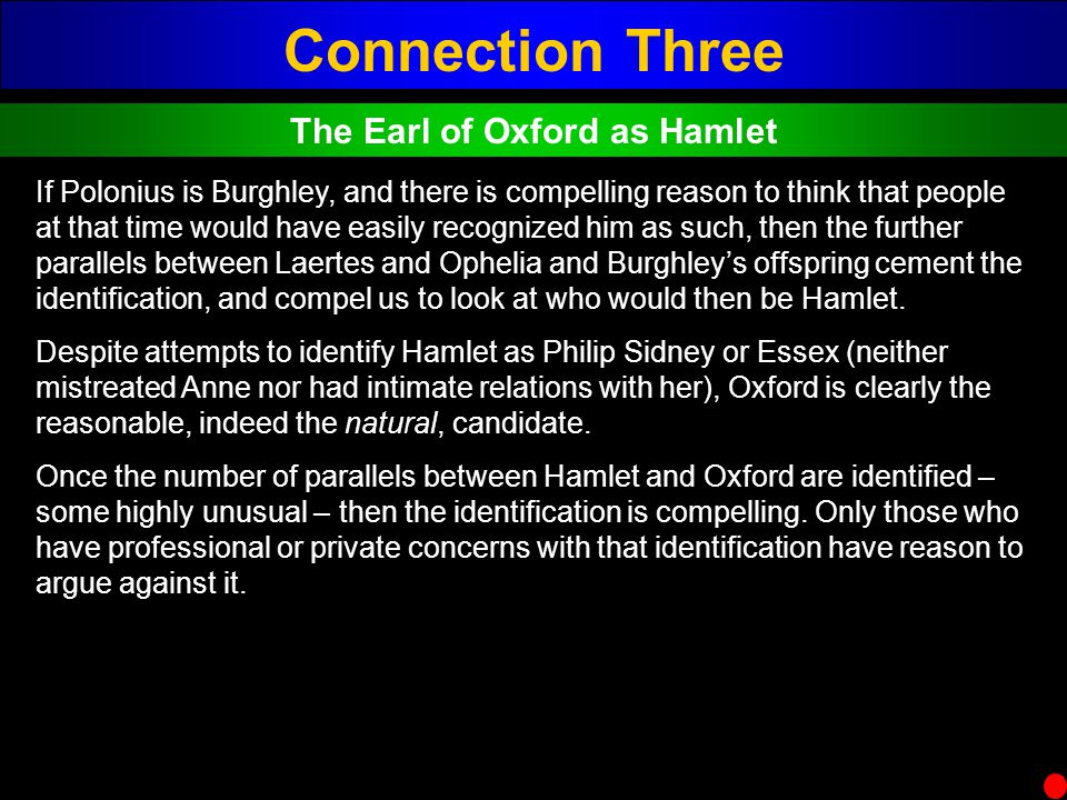 The Earl of Oxford as Hamlet