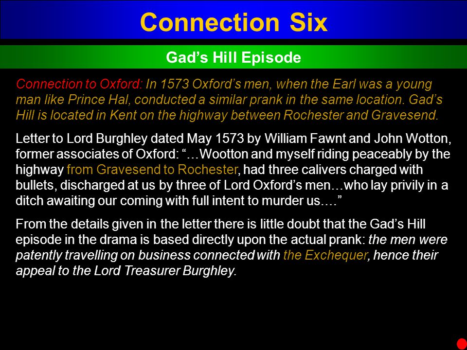 Connection Six Gad's Hill Episode