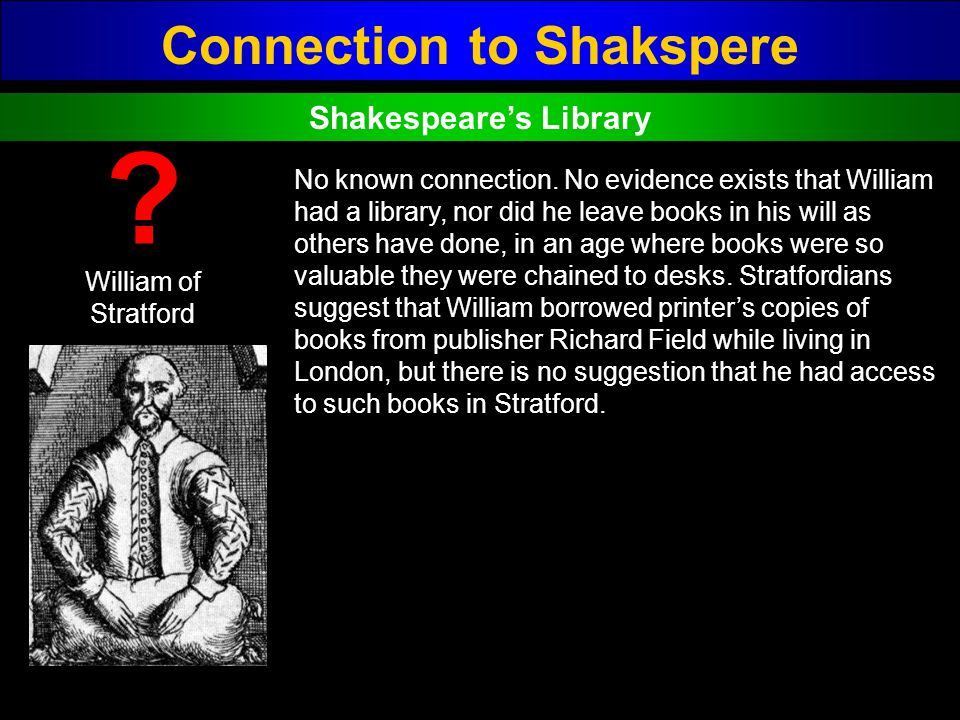 Connection to Shakspere Shakespeare's Library