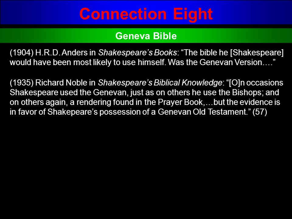 Connection Eight Geneva Bible