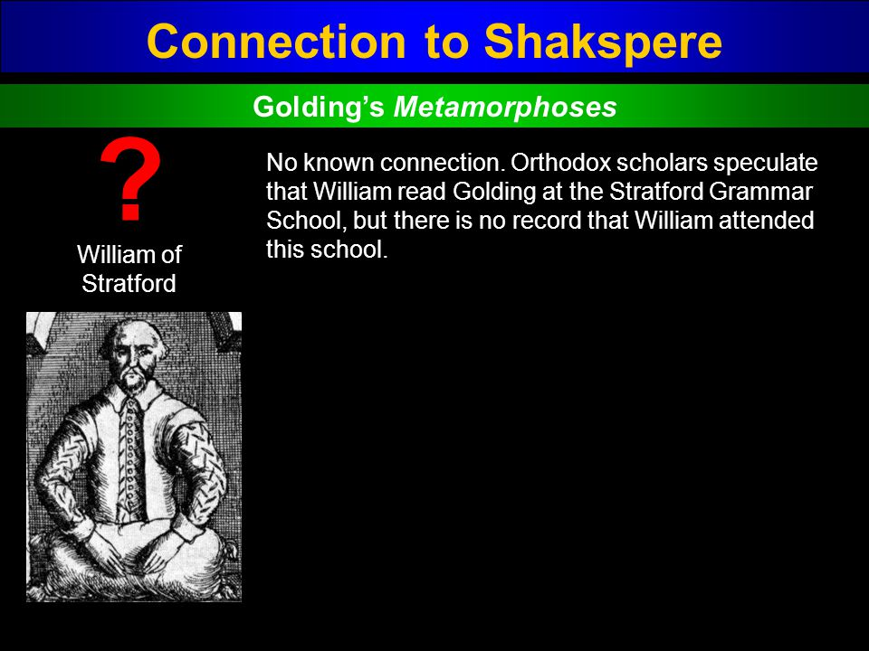Connection to Shakspere Golding's Metamorphoses