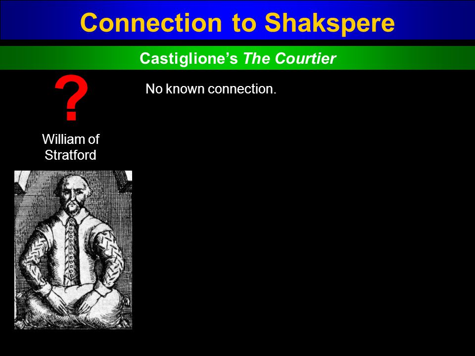 Connection to Shakspere Castiglione's The Courtier
