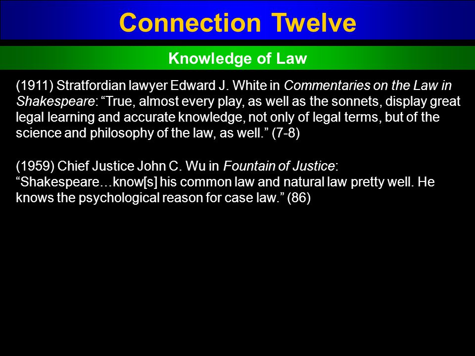 Connection Twelve Knowledge of Law