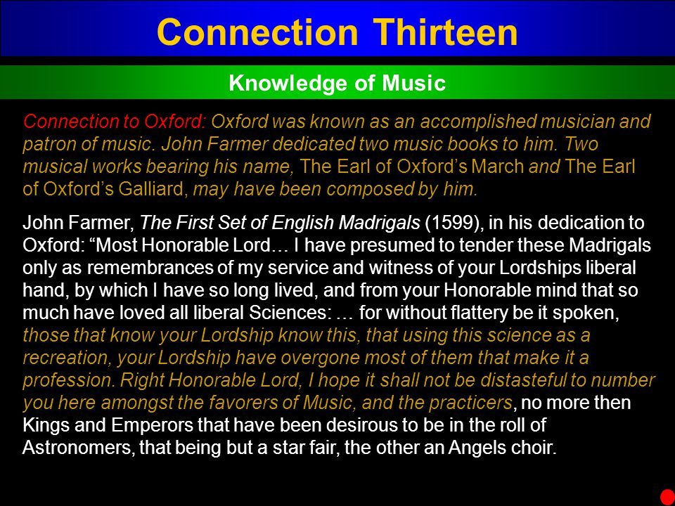Connection Thirteen Knowledge of Music