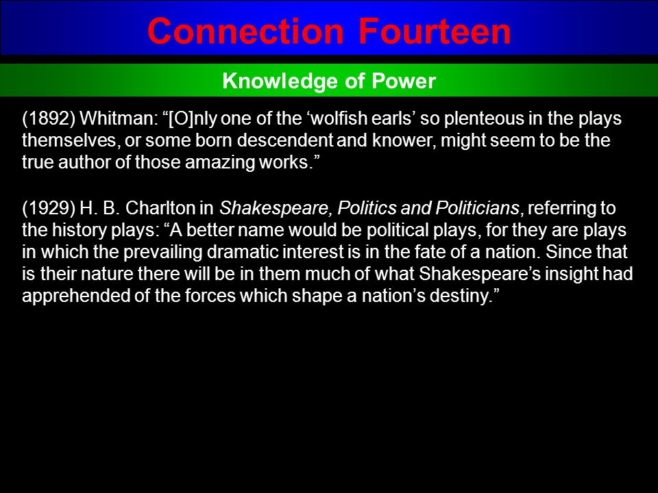 Connection Fourteen Knowledge of Power