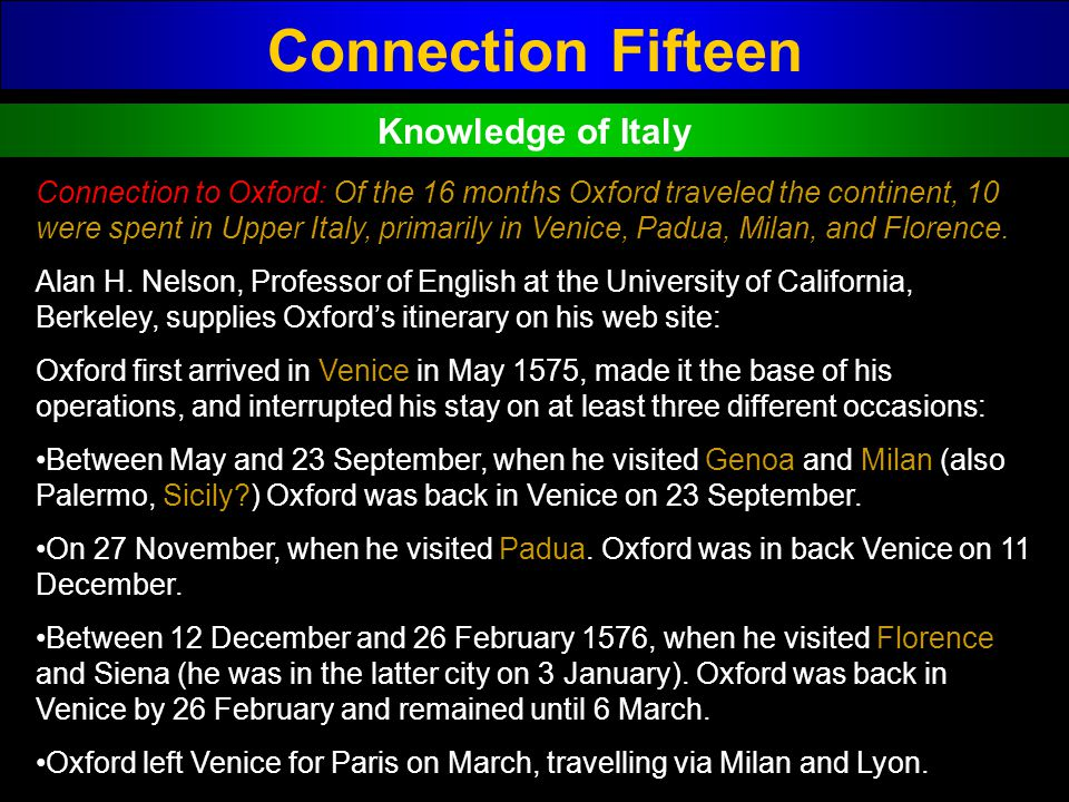 Connection Fifteen Knowledge of Italy