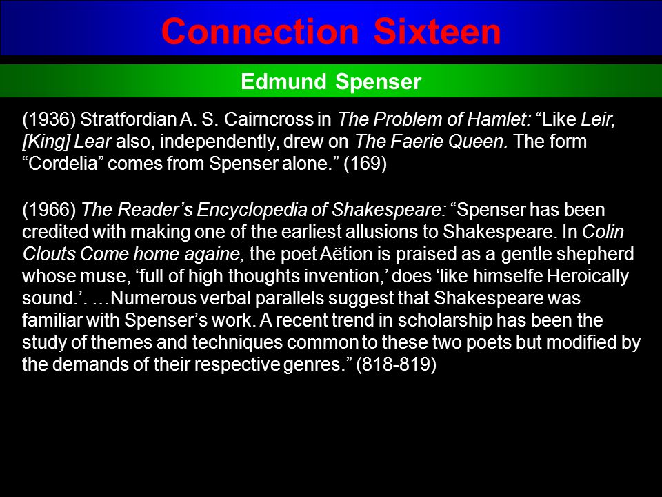 Connection Sixteen Edmund Spenser