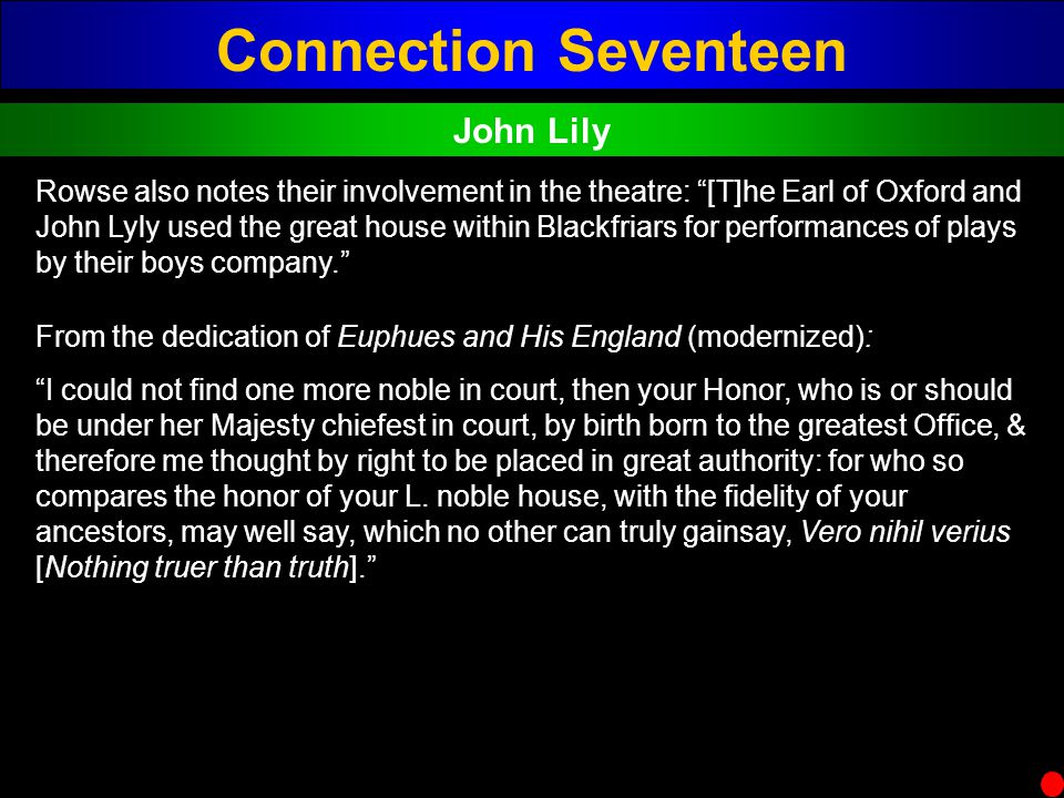 Connection Seventeen John Lily