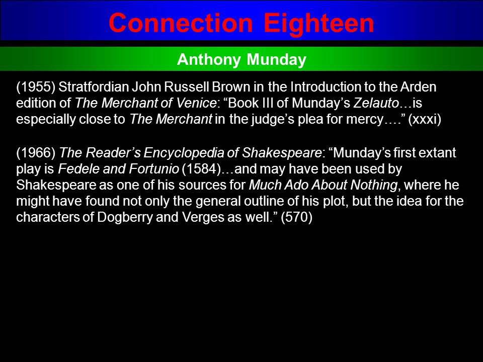 Connection Eighteen Anthony Munday