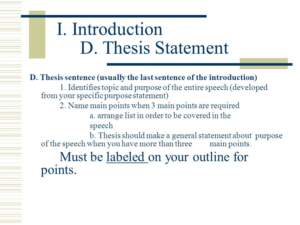 thesis statement for speech of introduction The introduction to a speech typically includes an attention getter what is an example of an introduction of a speech a: quick answer for a persuasive speech, this is the thesis statement.