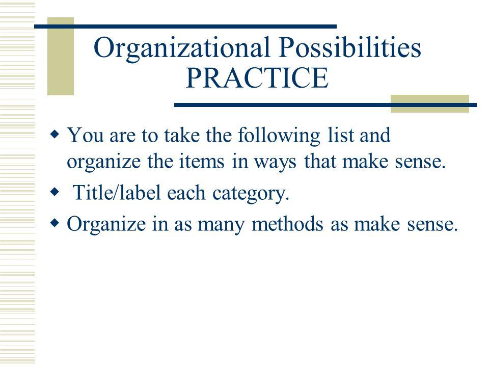 Organizational Possibilities PRACTICE