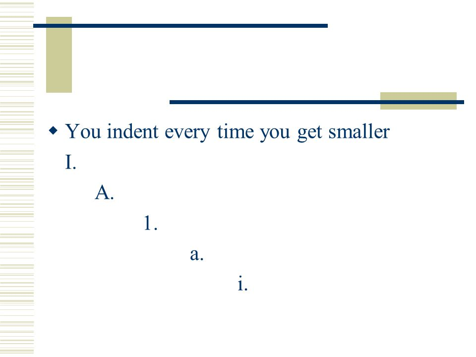 You indent every time you get smaller