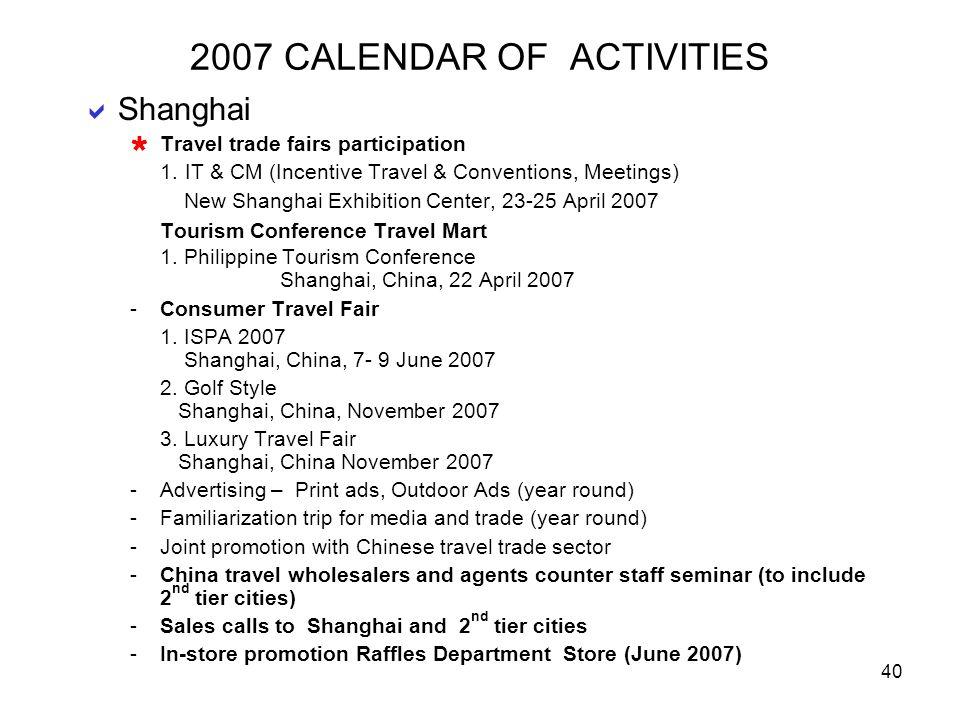 2007 CALENDAR OF ACTIVITIES