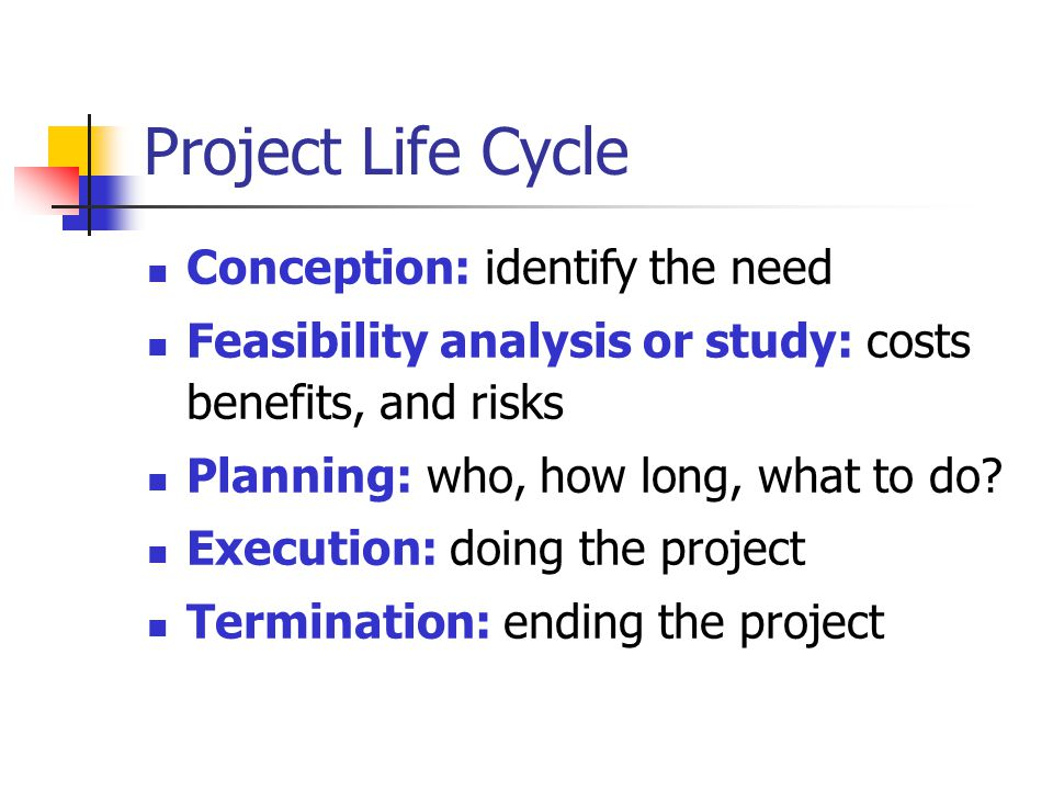 Project Life Cycle Conception: identify the need