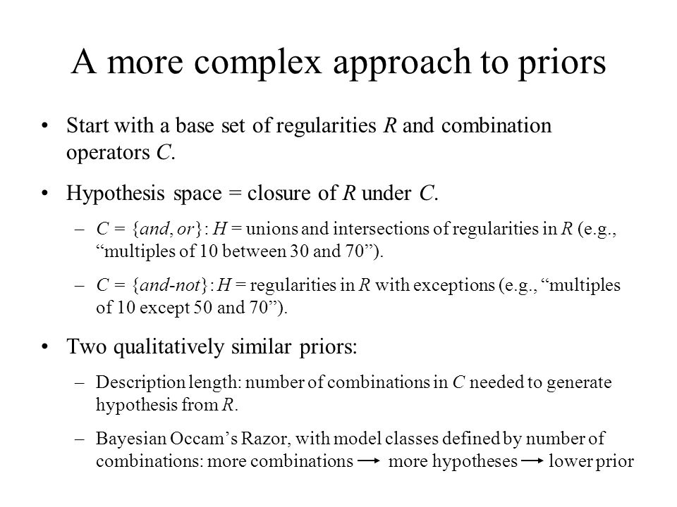 A more complex approach to priors