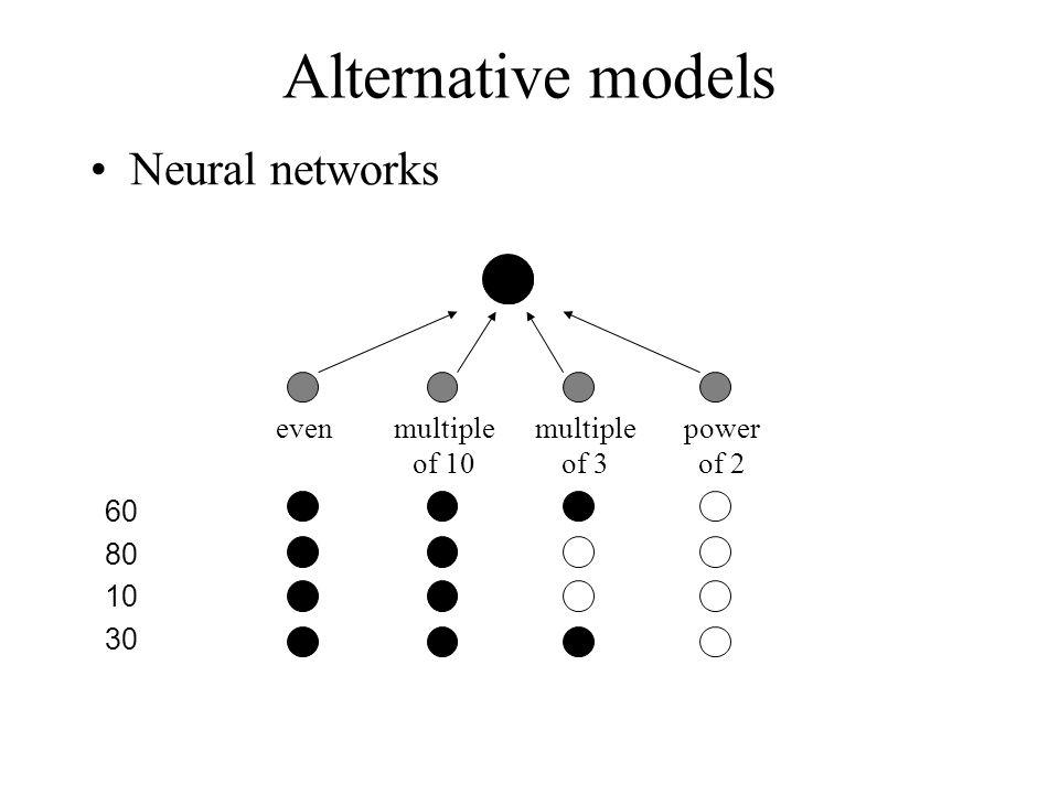 Alternative models Neural networks 60 even multiple of 10 power of 2