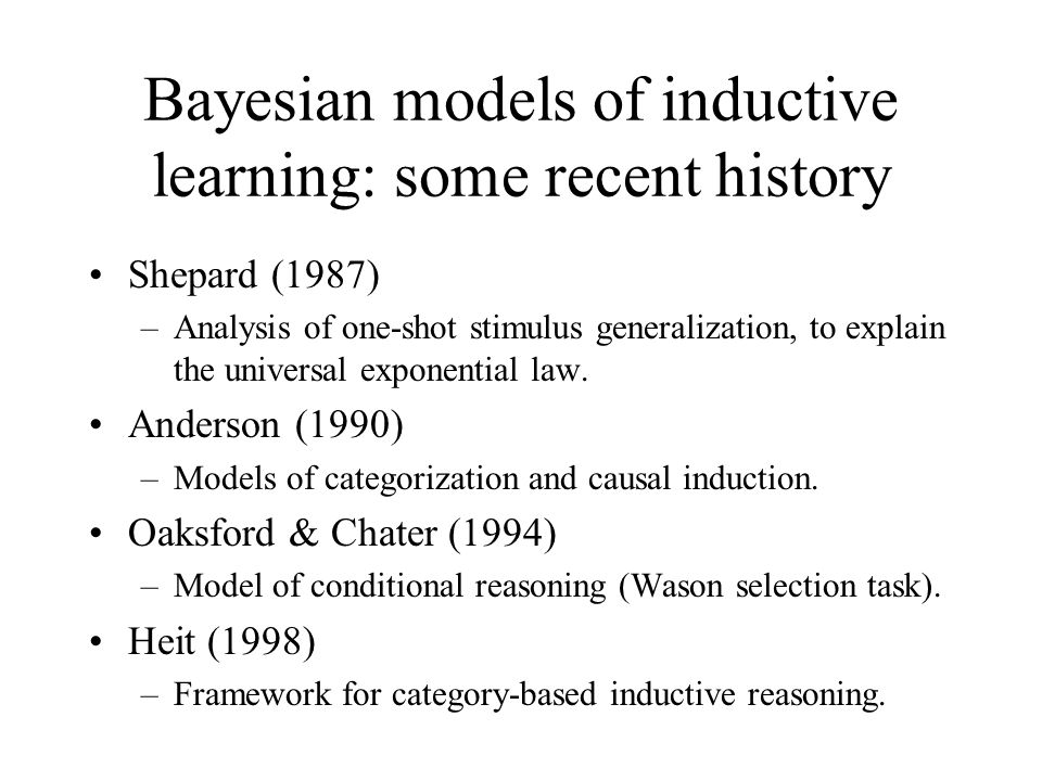 Bayesian models of inductive learning: some recent history