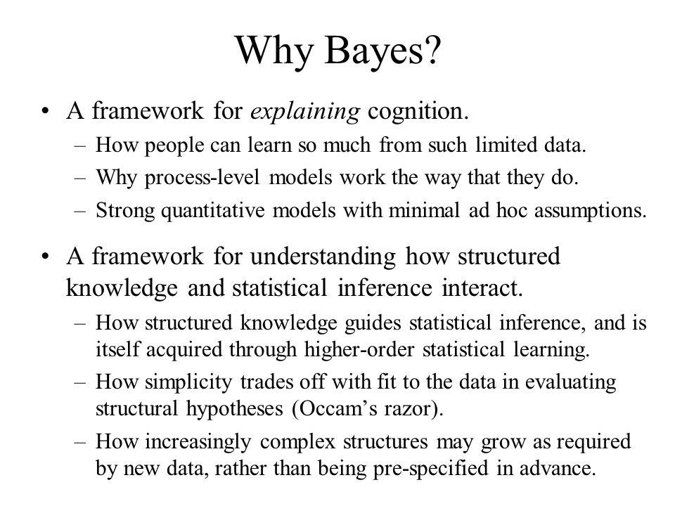Why Bayes A framework for explaining cognition.