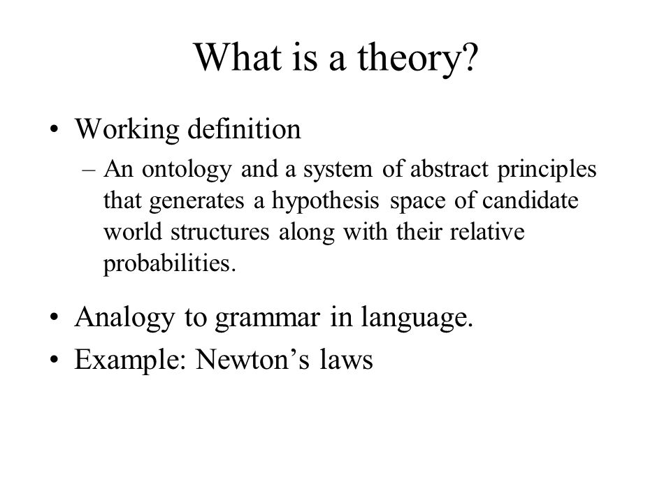 What is a theory Working definition Analogy to grammar in language.