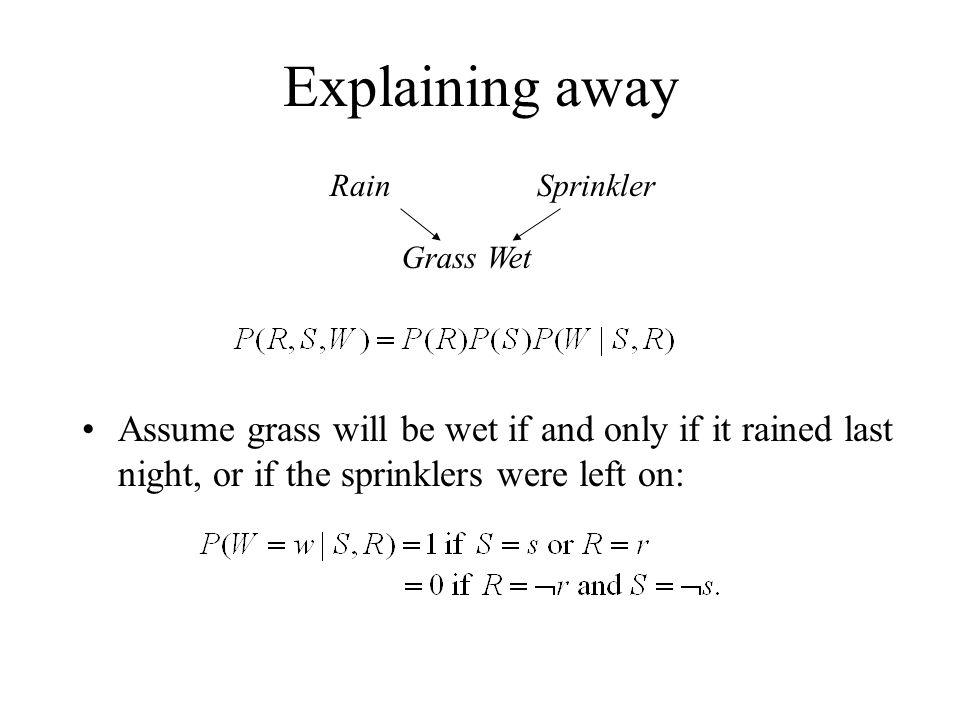 Explaining away Rain. Sprinkler. Grass Wet.