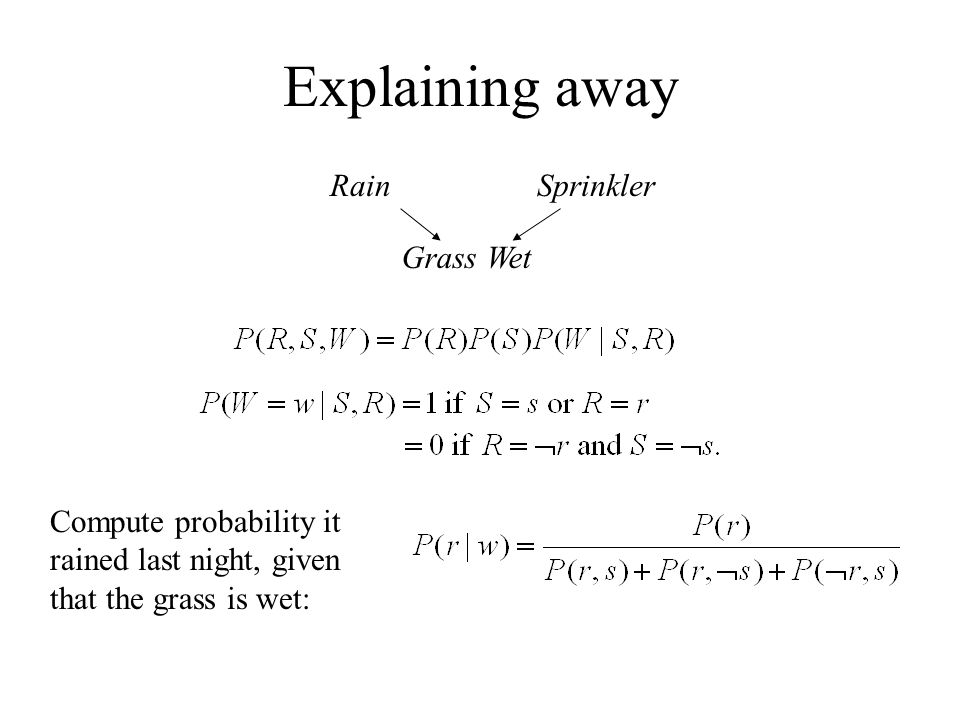 Explaining away Rain Sprinkler Grass Wet