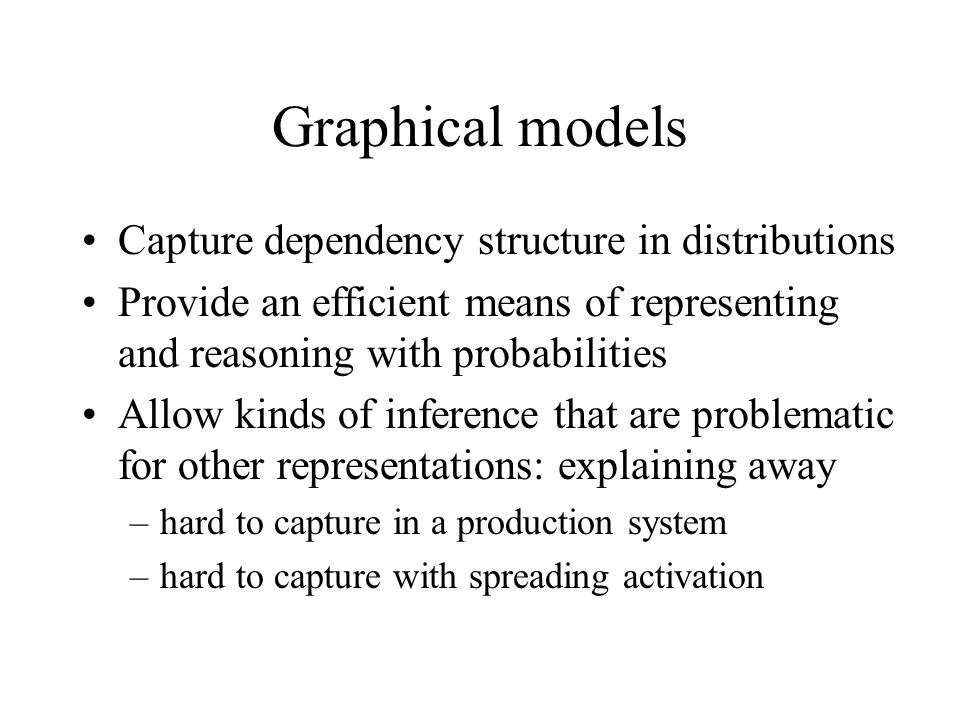 Graphical models Capture dependency structure in distributions