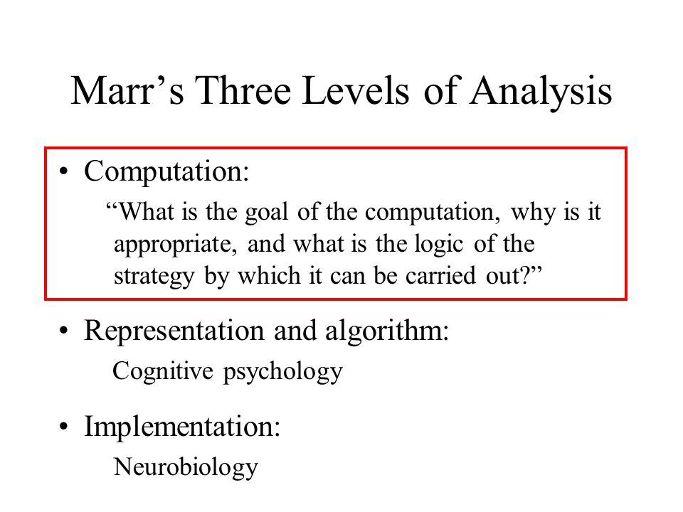 Marr's Three Levels of Analysis