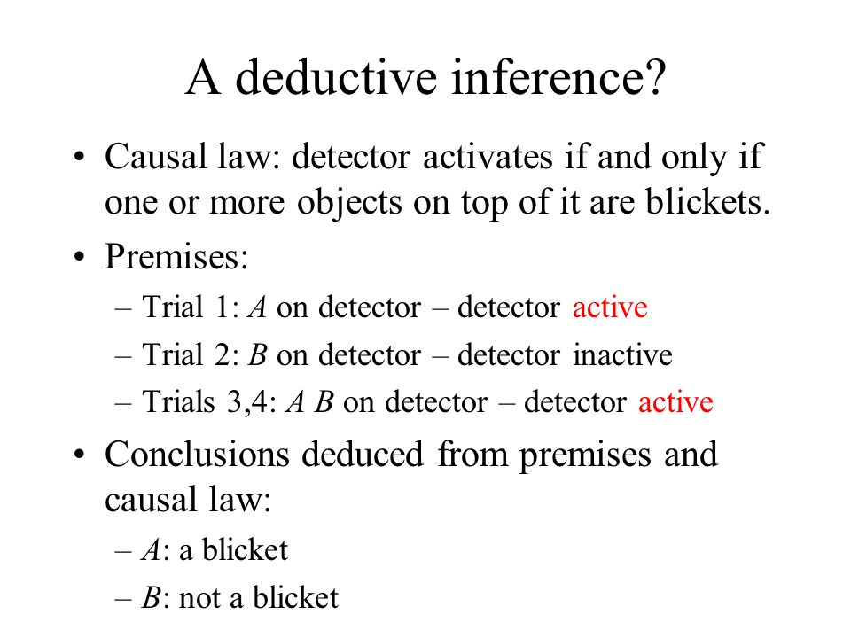 A deductive inference Causal law: detector activates if and only if one or more objects on top of it are blickets.
