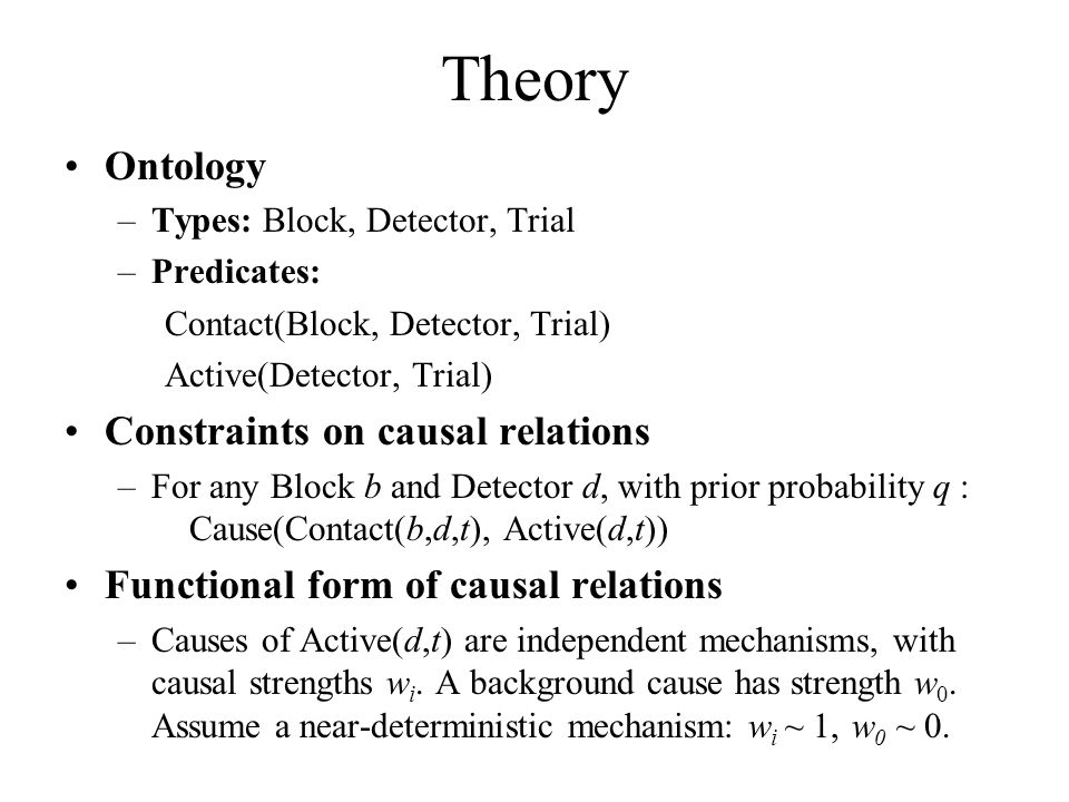 Theory Ontology Constraints on causal relations