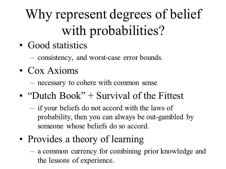 Why represent degrees of belief with probabilities