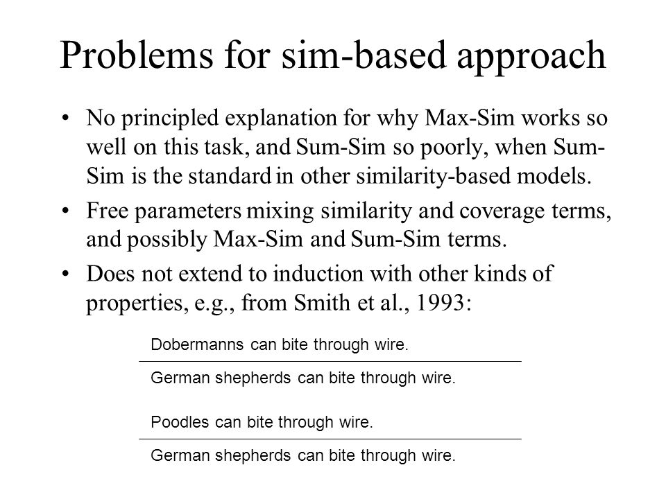 Problems for sim-based approach