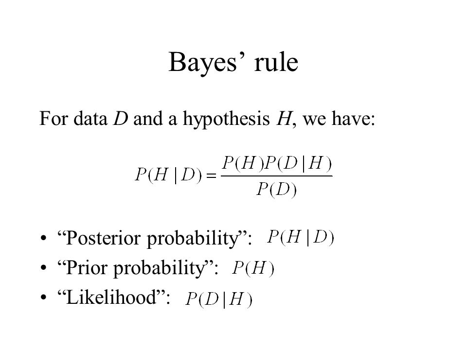 Bayes' rule For data D and a hypothesis H, we have:
