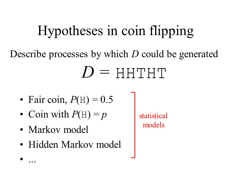 Hypotheses in coin flipping