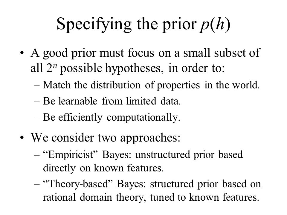 Specifying the prior p(h)