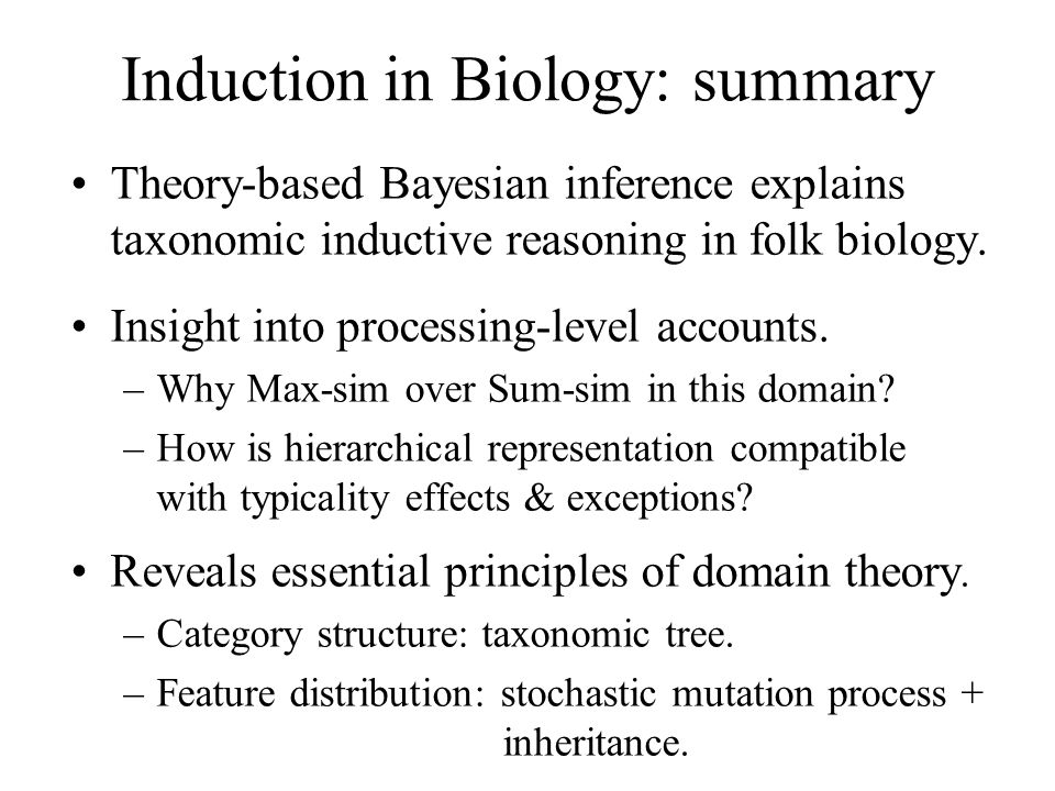 Induction in Biology: summary