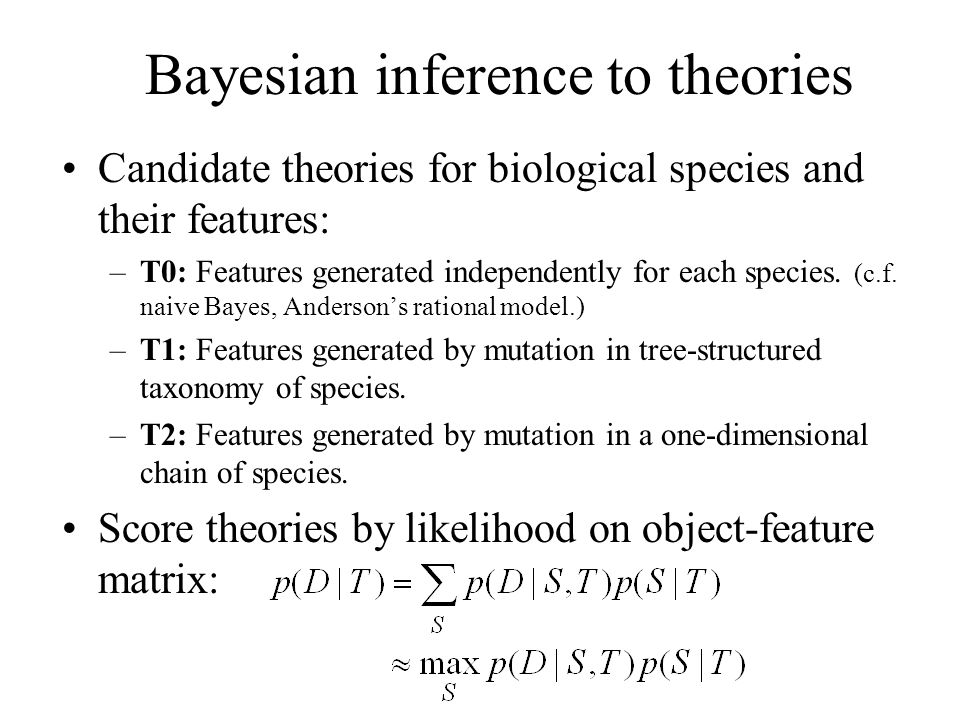Bayesian inference to theories
