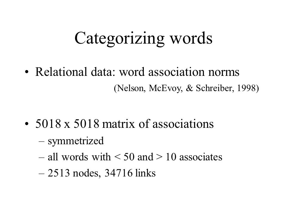 Categorizing words Relational data: word association norms (Nelson, McEvoy, & Schreiber, 1998)