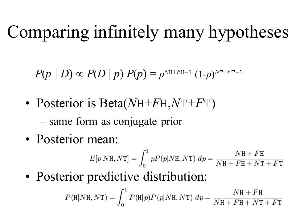 Comparing infinitely many hypotheses