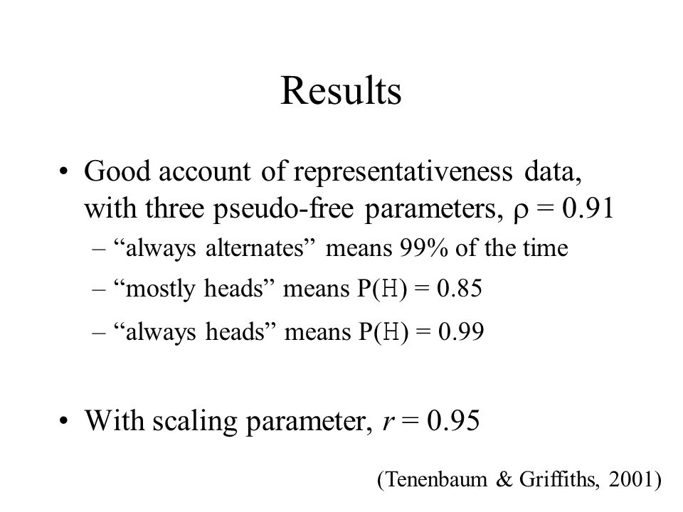 Results Good account of representativeness data, with three pseudo-free parameters,  = 0.91. always alternates means 99% of the time.