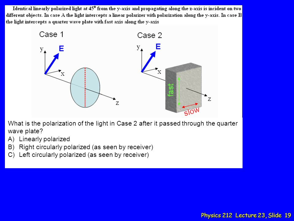 What is the polarization of the light in Case 2 after it passed through the quarter wave plate