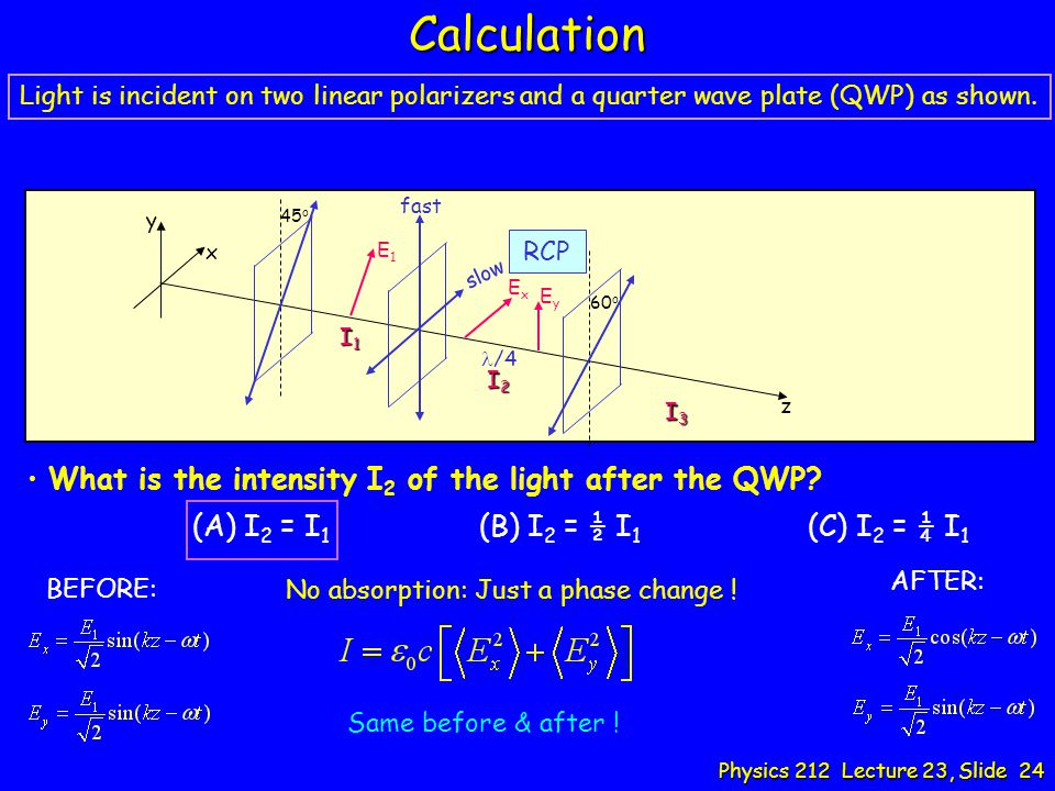 Calculation (A) I2 = I1 (B) I2 = ½ I1 (C) I2 = ¼ I1