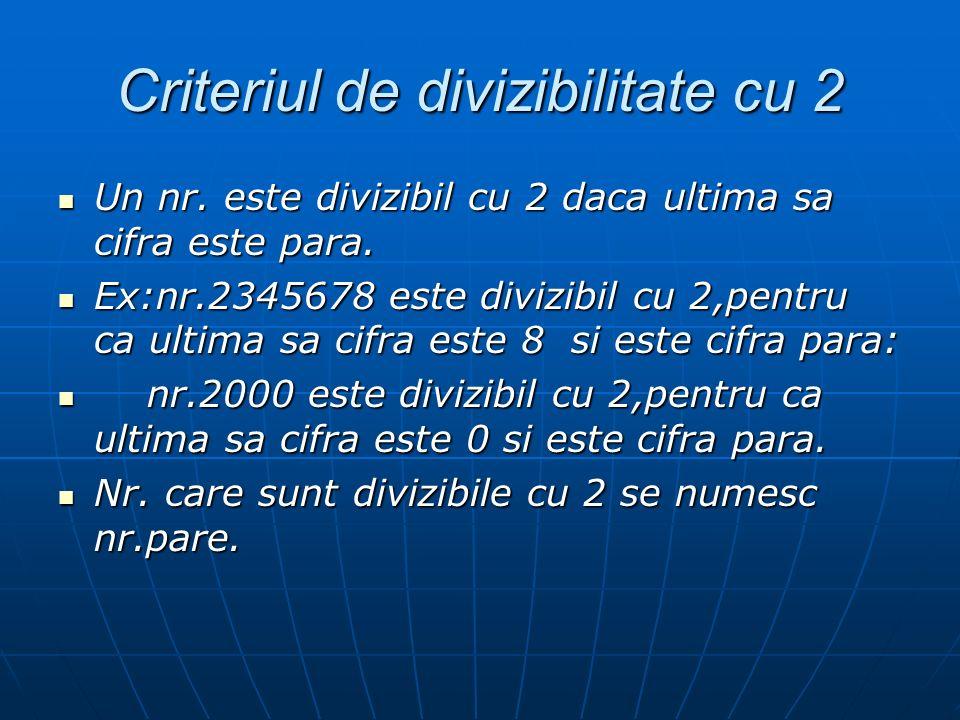 Criteriul de divizibilitate cu 2