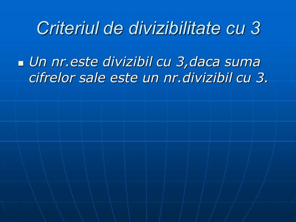 Criteriul de divizibilitate cu 3