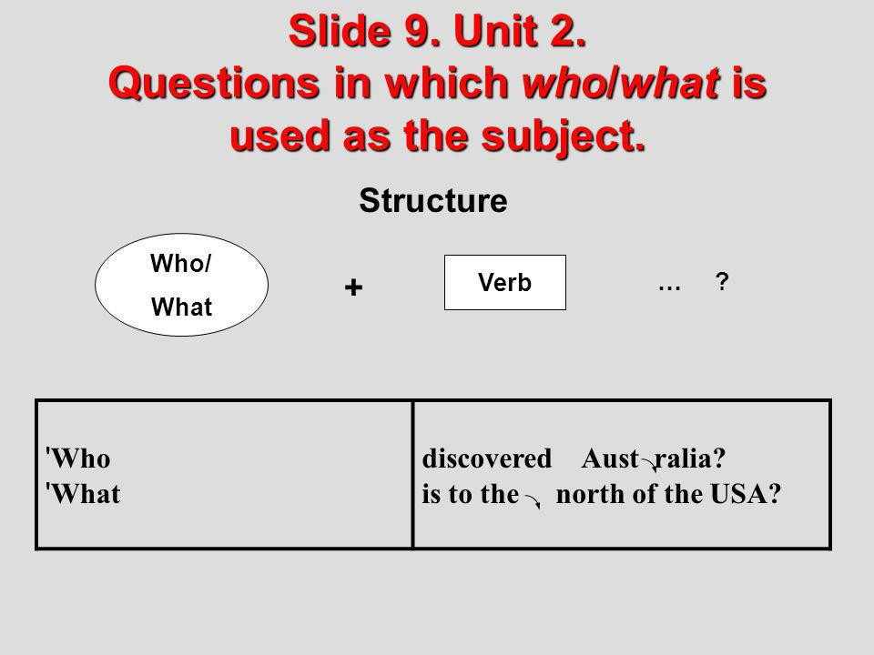 Slide 9. Unit 2. Questions in which who/what is used as the subject.
