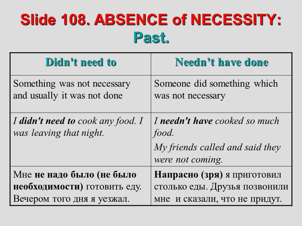 Slide 108. ABSENCE of NECESSITY: Past.