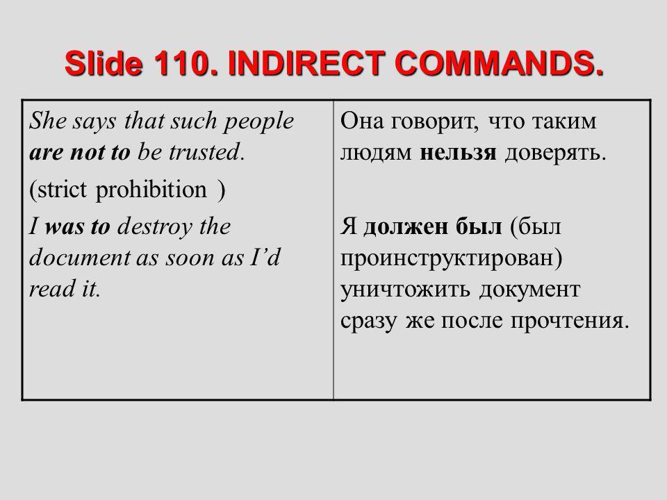 Slide 110. INDIRECT COMMANDS.