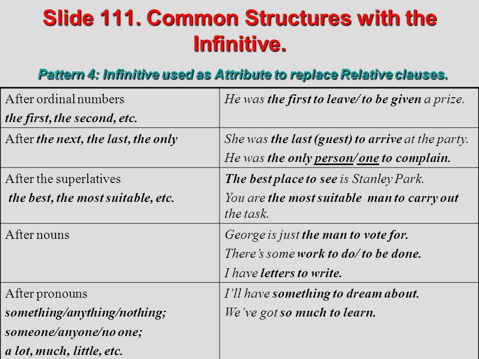 Slide 111. Common Structures with the Infinitive