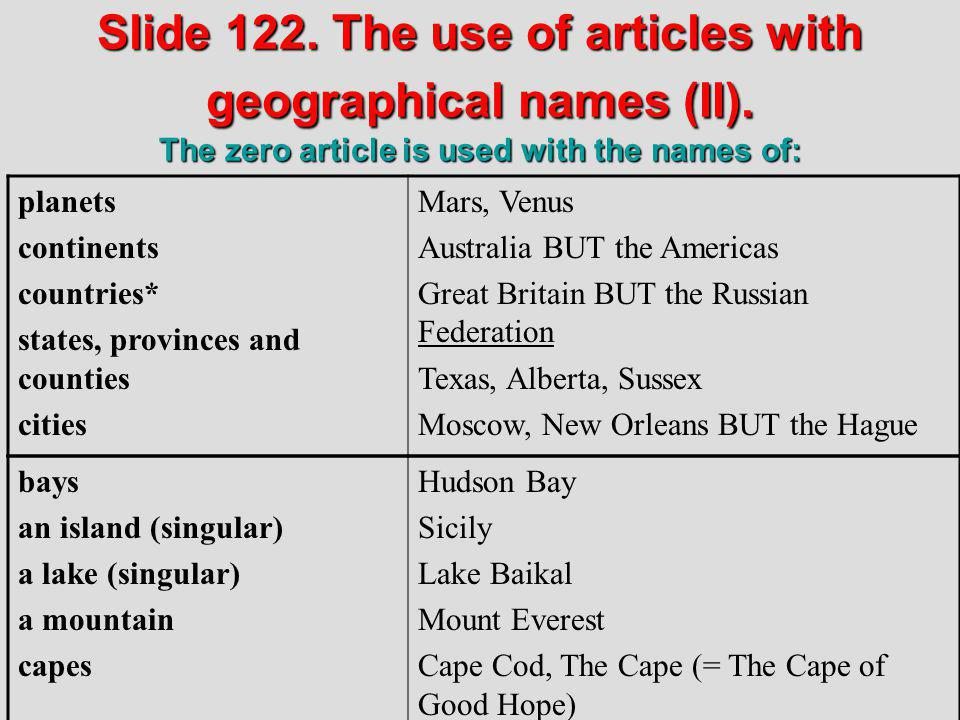 Slide 122. The use of articles with geographical names (II)
