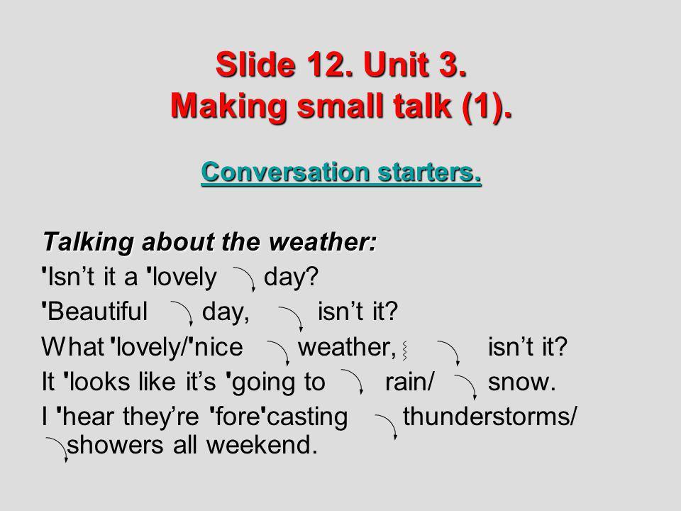 Slide 12. Unit 3. Making small talk (1).